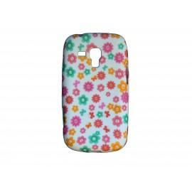 Coque silicone pour Samsung Galaxy Trend/S7560 petites fleurs multicolores + film protection écran offert