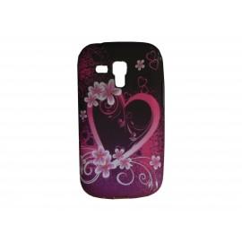 Coque silicone pour Samsung Galaxy Trend/S7560 fleurs et cœur roses + film protection écran offert