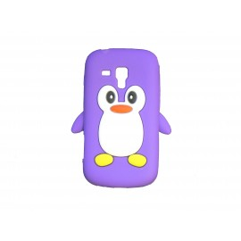 Coque silicone pour Samsung Galaxy Trend/S7560 pingouin violet + film protection écran offert