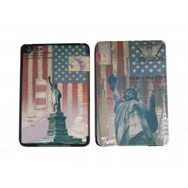 Pochette Ipad Mini drapeau USA/Etats-Unis statue de la liberté + film protection écran offert
