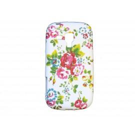 Coque silicone pour Samsung Galaxy Trend/S7560 petites fleurs rouges + film protection écran offert