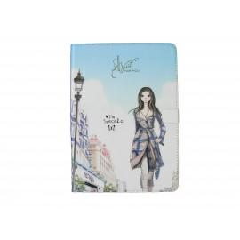 Pochette Ipad Air dame manteau bleu + film protection écran