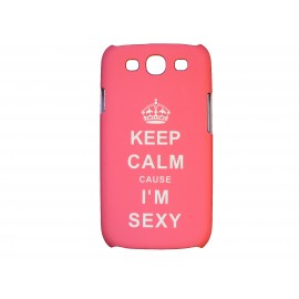 "Coque pour Samsung Galaxy S3 / I9300 rose ""keep calm"" + film protection écran offert"