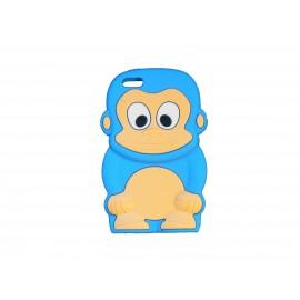 Coque silicone pour Iphone 5C singe bleu turquoise + film protection écran