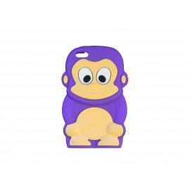 Coque silicone pour Iphone 5C singe violet + film protection écran
