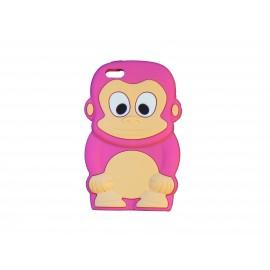 Coque silicone pour Iphone 5C singe rose bonbon + film protection écran