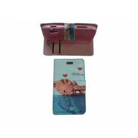 Pochette bleue pour Samsung S7560 Galaxy Trend chat + film protectin écran