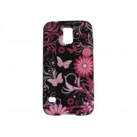 Coque TPU Samsung Galaxy S5 G900 noire fleurs papillons roses  + film protection écran offert