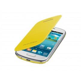 Flip cover Samsung Galaxy S3 mini / I8190 jaune+ film protectin écran