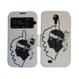 Pochette pour Samsung I9500 Galaxy S4 simili-cuir Corse + film protection écran