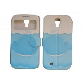Pochette pour Samsung I9500 Galaxy S4 simili-cuir baleine bleue + film protection écran