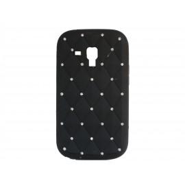 Coque silicone pour Samsung Galaxy Trend/S7560 noire strass + film protection écran offert