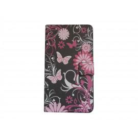 Pochette noire pour Samsung Galaxy Note 3 N9000 simili-cuir papillons roses+ film protection écran