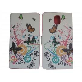 Pochette blanche pour Samsung Galaxy Note 3 N9000 simili-cuir papillons noirs+ film protection écran