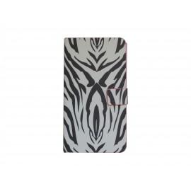 Pochette blanche pour Samsung Galaxy Note 3 N9000 simili-cuir zèbre+ film protection écran