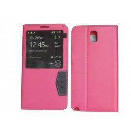 Pochette fenêtre pour Samsung Galaxy Note 3 N9000 simili-cuir rose+ film protection écran