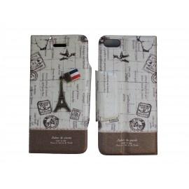 Pochette pour Iphone 5C simili-cuir Tour Eiffel marron+ film protection écran offert