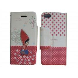 Pochette pour Iphone 5C simili-cuir petite fille pois rouges + film protection écran offert