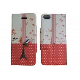 Pochette pour Iphone 5C simili-cuir Tour Eiffel rouge pois blancs + film protection écran offert