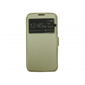 Pochette pour Samsung Galaxy S5 G900 simili-cuir or + film protection écran