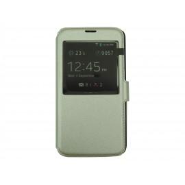 Pochette pour Samsung Galaxy S5 G900 simili-cuir argent + film protection écran