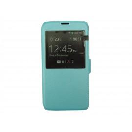 Pochette pour Samsung Galaxy S5 G900 simili-cuir bleu turquoise nacré + film protection écran
