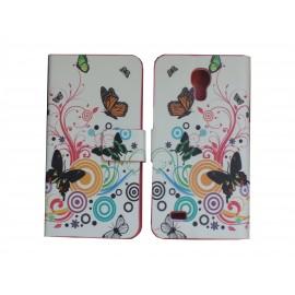 Pochette pour Samsung Galaxy S4 Mini/I9190 simili-cuir papillons multicolores + film protection écran