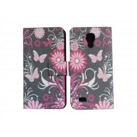 Pochette pour Samsung Galaxy S4 Mini/I9190 simili-cuir noire papillons roses + film protection écran