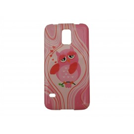 Coque TPU Samsung Galaxy S5 G900 rose hibou rose + film protection écran offert