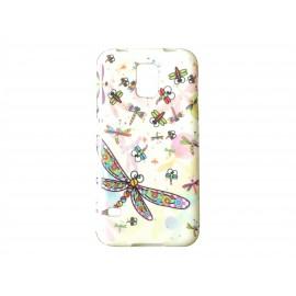 Coque TPU Samsung Galaxy S5 G900 blanche libellule + film protection écran offert
