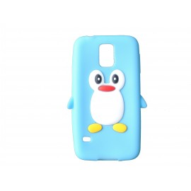 Coque silicone Samsung Galaxy S5 G900 pingouin bleu turquoise + film protection écran offert