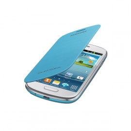 Flip cover Samsung Galaxy S3 mini / I8190 bleu turquoise + film protectin écran