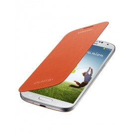 Flip cover origine Samsung Galaxy S4 I9500 orange + film protection écran