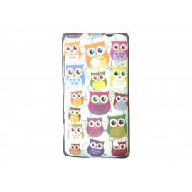 Coque pour Nokia Lumia 520 hibou multicolore + film protection écran offert