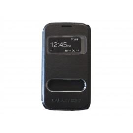 Pochette pour Samsung Galaxy core I8260 simili-cuir noire + film protection écran