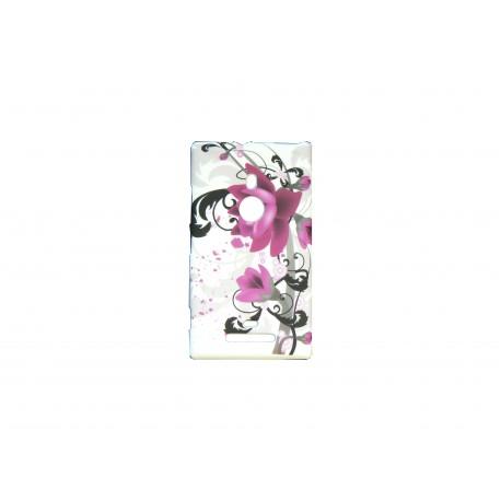 Coque pour Nokia Lumia 925 fleurs roses + film protection écran offert