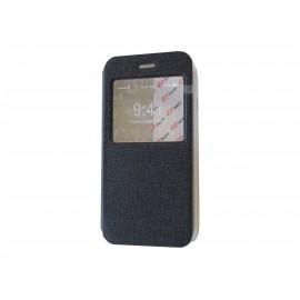 Pochette pour Iphone 6 simili-cuir noir fenêtre + film protection écran offert