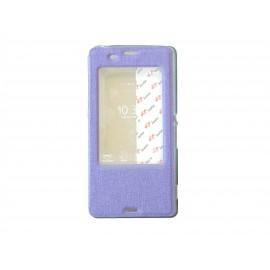 Pochette pour Sony Xperia Z3 simili-cuir violet fenêtre + film protection écran offert