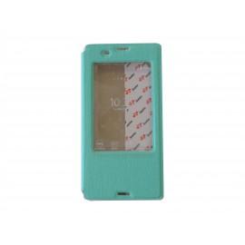 Pochette pour Sony Xperia Z3 simili-cuir vert émeraude fenêtre + film protection écran offert