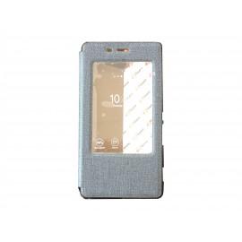 Pochette pour Sony Xperia M2 simili-cuir bleu nuit fenêtre + film protection écran offert