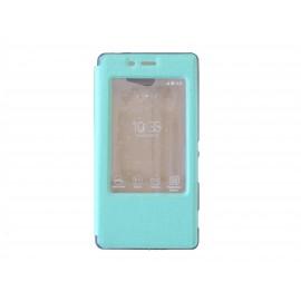 Pochette pour Sony Xperia M2 simili-cuir vert émeraude fenêtre + film protection écran offert