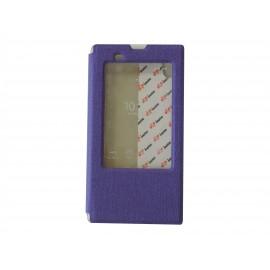 Pochette pour Sony Xperia T3 simili-cuir violet fenêtre + film protection écran offert