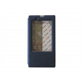 Pochette pour Sony Xperia T3 simili-cuir bleu nuit fenêtre + film protection écran offert