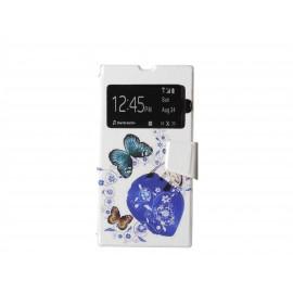 Pochette pour Sony Xperia Z1 simili-cuir papillon bleu + film protection écran offert