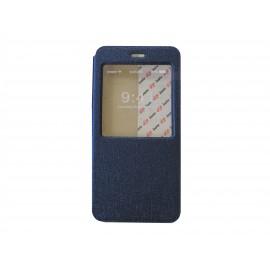 Pochette pour Iphone 6 plus simili-cuir bleu nuit fenêtre + film protection écran offert