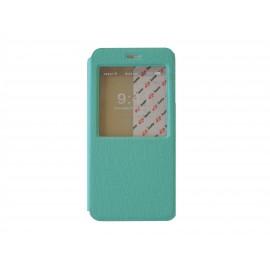 Pochette pour Iphone 6 plus simili-cuir vert émeraude fenêtre + film protection écran offert