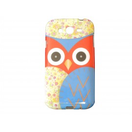 Coque TPU Samsung Galaxy Grand I9080 hibou bleu+ film protection écran offert