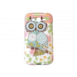 Coque TPU Samsung Galaxy Grand I9080 hibou saumon+ film protection écran offert