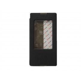 Pochette pour Sony Xperia T2 simili-cuir noir fenêtre + film protection écran offert