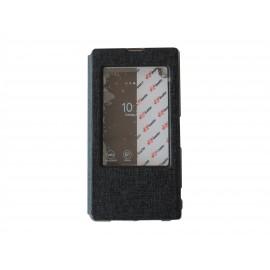Pochette pour Sony Xperia Z2 simili-cuir noir fenêtre + film protection écran offert